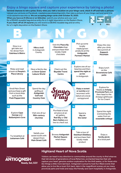 Coastal Nova Scotia - 2020 Bingo - Antigonish