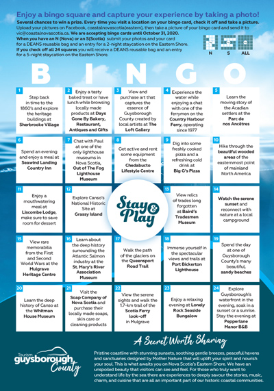 Coastal Nova Scotia - 2020 Bingo - Guysborough