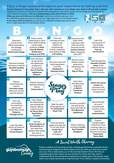 Coastal Nova Scotia - 2020 Bingo - Guysborough